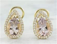 430 CTW Morganite 18K Yellow Gold Diamond Earrings