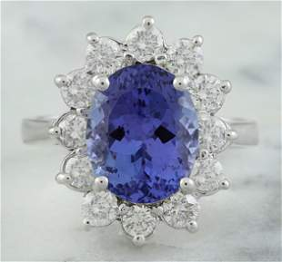 4.74 CTW Tanzanite 14K White Gold Diamond Ring