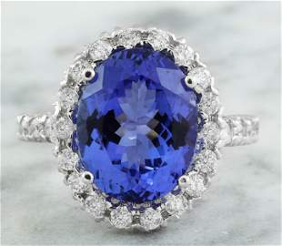 10.46 CTW Tanzanite 14K White Gold Diamond Ring