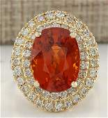 1164 CTW Natural Mandarin Garnet And Diamond Ring 14K