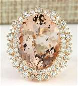 1556 CTW Natural Morganite And Diamond Ring In 14k