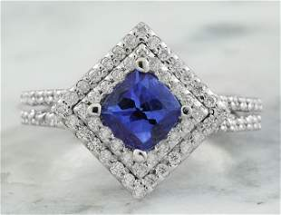 2.00 CTW Tanzanite 14K White Gold Diamond Ring