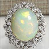 1198 CTW Natural Opal And Diamond Ring In 14K Solid