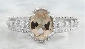 129 CTW Morganite 14K White gold Diamond Ring