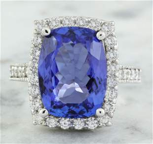 8.55 CTW Tanzanite 14K White Gold Diamond Ring