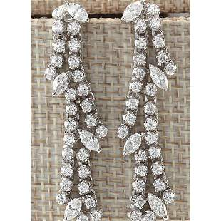 4.00 CTW Natural Diamond Earrings 18K Solid White Gold