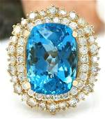 1564 CTW Natural Topaz 18K Solid Yellow Gold Diamond