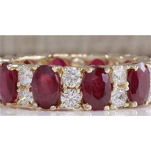 8.07 CTW Natural Red Ruby Diamond Ring 14K Solid Yellow