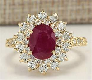 3.28 CTW Natural Ruby And Diamond Ring In 14K Yellow