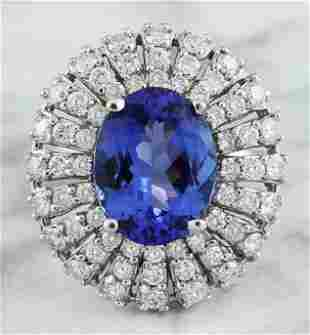 5.45 CTW Tanzanite 14K White Gold Diamond Ring