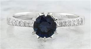 1.18 CTW Sapphire 18K White Gold Diamond Ring