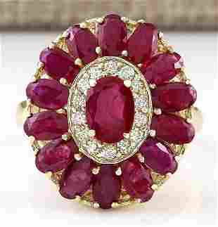 4.42 CTW Natural Ruby And Diamond Ring In 14k Yellow