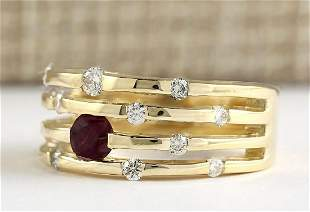 1.00 CTW Natural Ruby And Diamond Ring In 14k Yellow