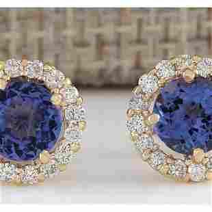 3.65 CTW Natural Blue Tanzanite And Diamond Earrings