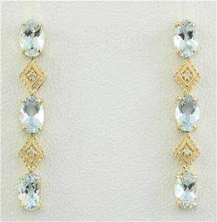 2.65 CTW Aquamarine 18K Yellow Gold Diamond Earrings