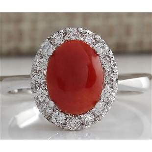 1.60 CTW Natural Red Coral And Diamond Ring 18K Solid