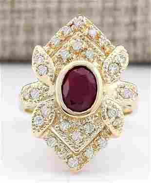 1.75 CTW Natural Ruby And Diamond Ring In 14k Yellow
