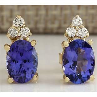 2.79 CTW Natural Blue Tanzanite And Diamond Earrings