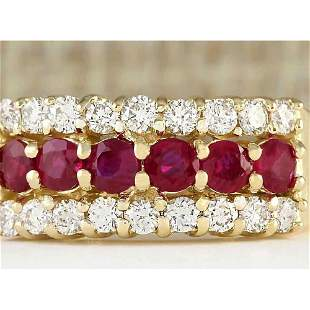 1.60 CTW Natural Ruby And Diamond Ring In 14k Yellow