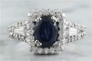 3.10 CTW Sapphire 18K White Gold Diamond ring