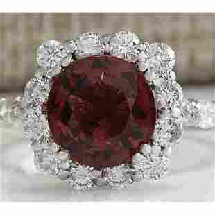 4.66 CTW Natural Pink Tourmaline And Diamond Ring 18K