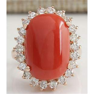 10.18 CTW Natural Red Coral And Diamond Ring 18K Solid