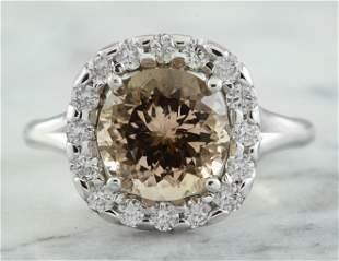 3.70 CTW Morganite 14K White Gold Diamond Ring