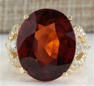 19.58 CTW Natural Hessonite Garnet And Diamond Ring In