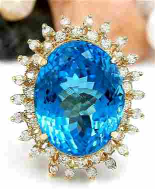 32.00 CTW Natural Topaz 18K Solid Yellow Gold Diamond