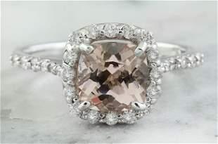 2.00 CTW Morganite 14K White Gold Diamond Ring