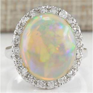 8.30 CTW Natural Opal And Diamond Ring 14K Solid White