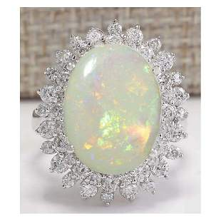 5.86 CTW Natural Australian Opal And Diamond Ring In