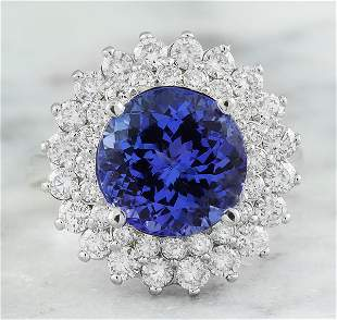 4.88 CTW Tanzanite 14K White Gold Diamond Ring