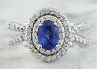 2.66 CTW Sapphire 18K White Gold Diamond Ring