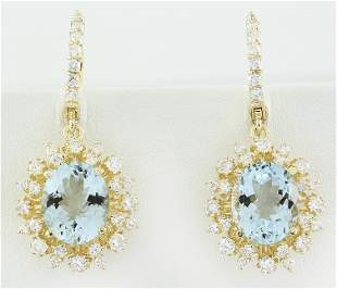 8.07 CTW Aquamarine 18K Yellow Gold Diamond Earrings