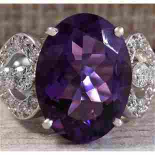 8.89 CTW Natural Amethyst And Diamond Ring In 14K Solid
