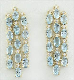 9.90 CTW Aquamarine 18K Yellow Gold Diamond Earrings