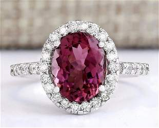 3.02 CTW Natural Pink Tourmaline And Diamond Ring 18K