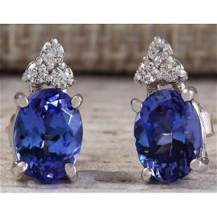 3.00 CTW Natural Blue Tanzanite And Diamond Earrings