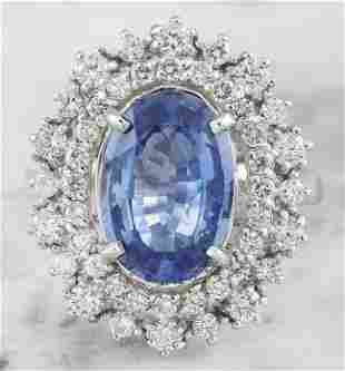 6.10 CTW Sapphire 18K White Gold Diamond Ring