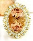 1240 CTW Natural Morganite 18K Solid Yellow Gold