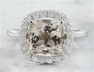 3.56 CTW Morganite 14K White Gold Diamond Ring