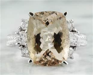 6.69  CTW Morganite 14K White Gold Diamond Ring