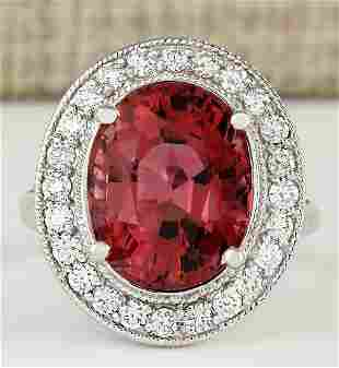 9.50 CTW Natural Pink Tourmaline And Diamond Ring 18K
