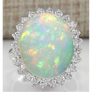 9.01 CTW Natural Opal And Diamond Ring 14K Solid White