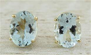 3.00 CTW Aquamarine 18K Yellow Gold Earrings