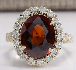 10.43 CTW Natural Hessonite Garnet And Diamond Ring 14K