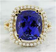 890 CTW Tanzanite 14K Yellow Gold Diamond Ring