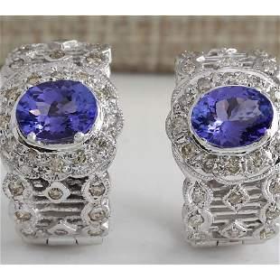 4.20 CTW Natural Tanzanite And Diamond Earrings 14K