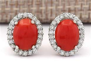 2.95 CTW Natural Coral And Diamond Earrings 18K Solid